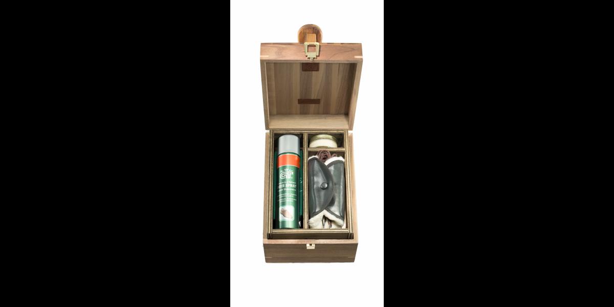 Cassetta porta lucidi in legno noce canaletto con poggiapiedi completa